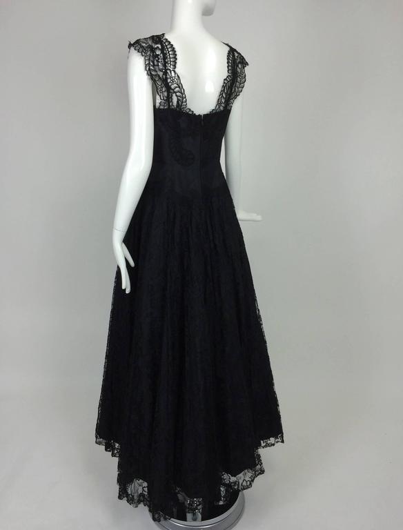 Women's 1950s Palm Beach Estate handmade black silk taffeta & lace evening gown  For Sale