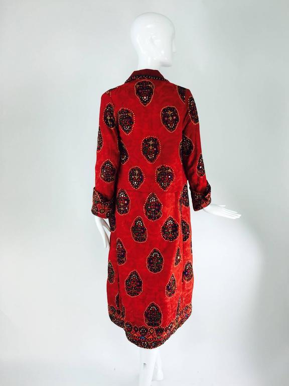 Shisha pomegranate damask embroidered flapper style coat India 1920s For Sale 1