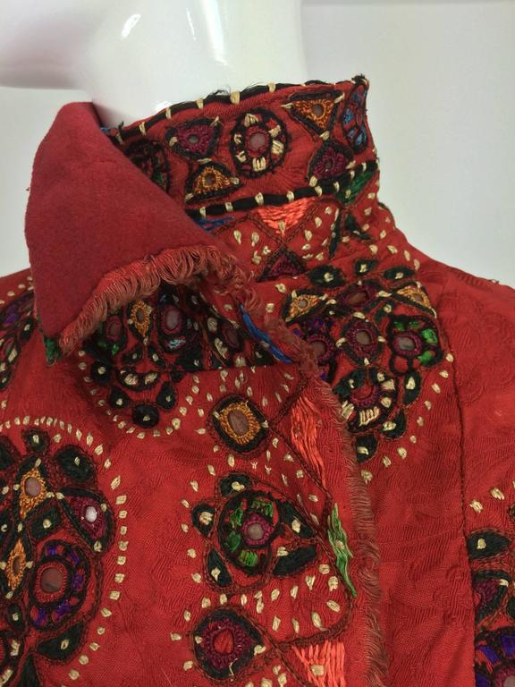 Shisha pomegranate damask embroidered flapper style coat India 1920s For Sale 4
