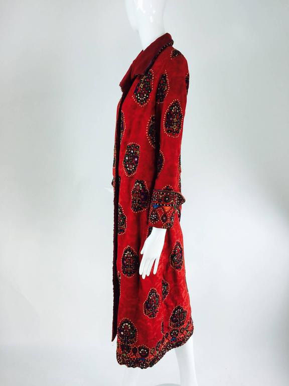 Brown Shisha pomegranate damask embroidered flapper style coat India 1920s For Sale