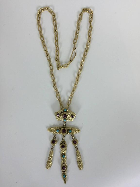 Henry Perichon Gilded metal renaissance style necklace 1960s 4