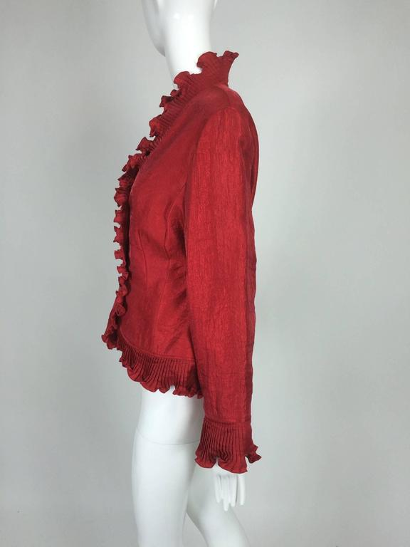 Victor Costa Shimmery Red Evening Jacket With Pleated