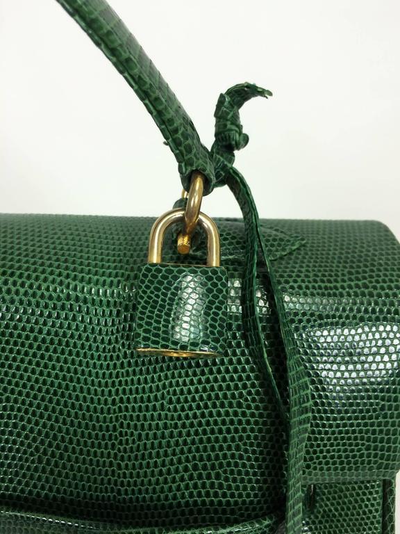 1stdibs Luc Benoit Green Glazed Lizard Kelly Style Handbag Gold Hardware 1990s FxRJYl