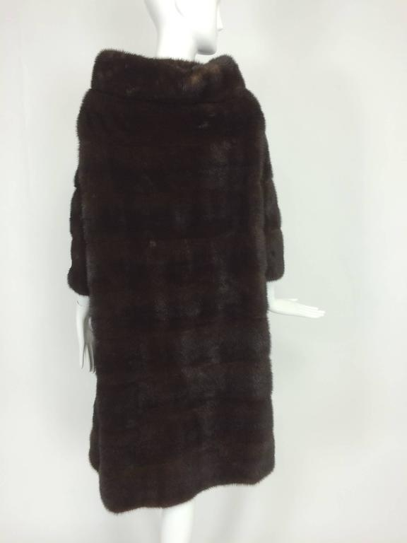 Black Glossy dark mink portrait collar fur coat early 1960s For Sale