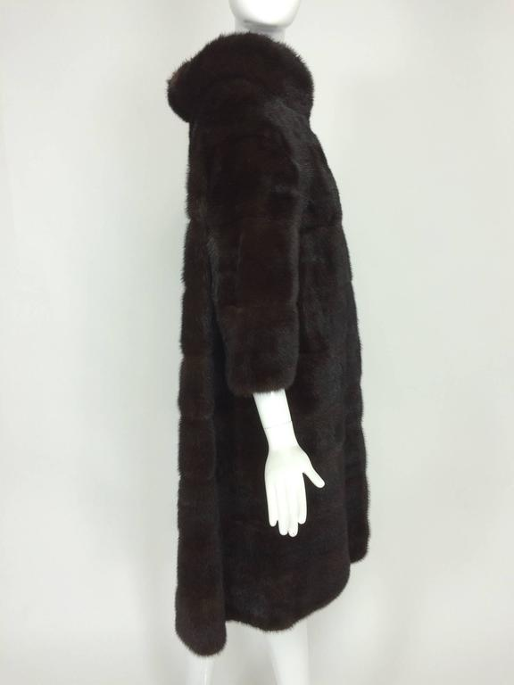 Glossy dark mink portrait collar fur coat early 1960s 6