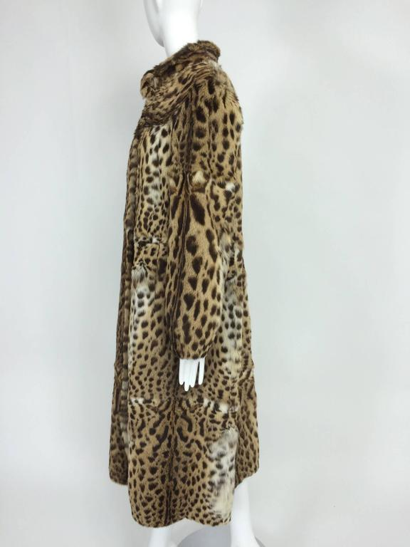 Brown 1970s full length spotted fur coat Yorn Boutique  For Sale
