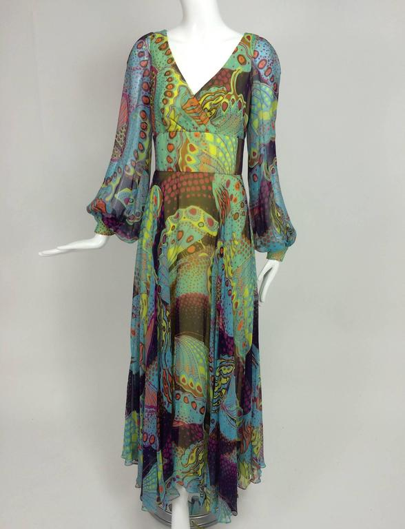 1960s silk chiffon Butterfly print maxi dress 1960s...This dress is made from an amazing silk chiffon print, the colours are vivid...Possibly made especially for the small boutique it was sold at which was called, The Vogue of Boca, Boca Raton,