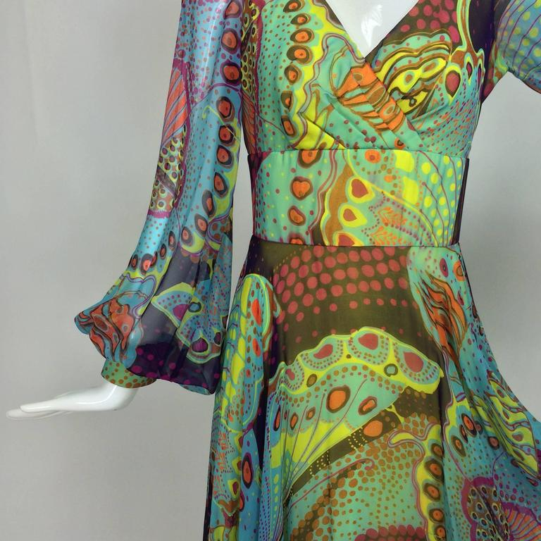 Vintage silk chiffon Butterfly print maxi dress 1960s In Excellent Condition For Sale In West Palm Beach, FL