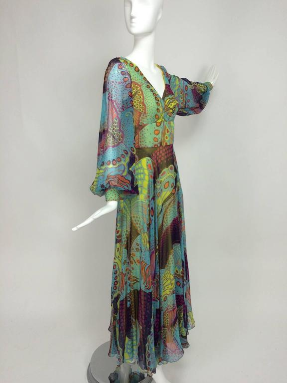 Vintage silk chiffon Butterfly print maxi dress 1960s For Sale 1