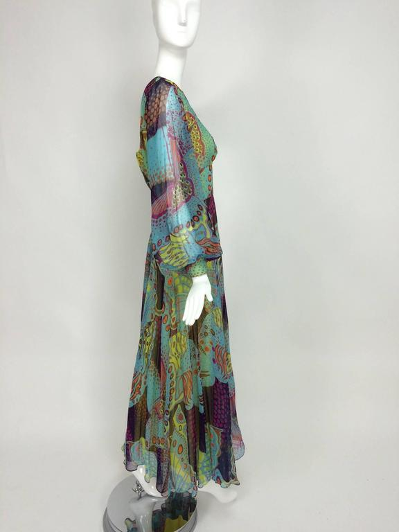 Vintage silk chiffon Butterfly print maxi dress 1960s For Sale 2