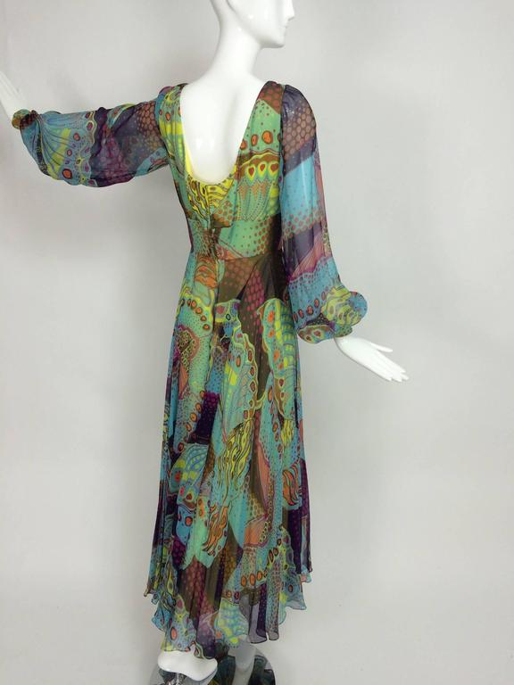 Vintage silk chiffon Butterfly print maxi dress 1960s For Sale 3