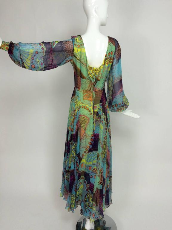 Vintage silk chiffon Butterfly print maxi dress 1960s For Sale 4