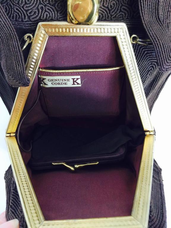 Corde 1940s Unique Chocolate Brown Genuine Handbag For 1