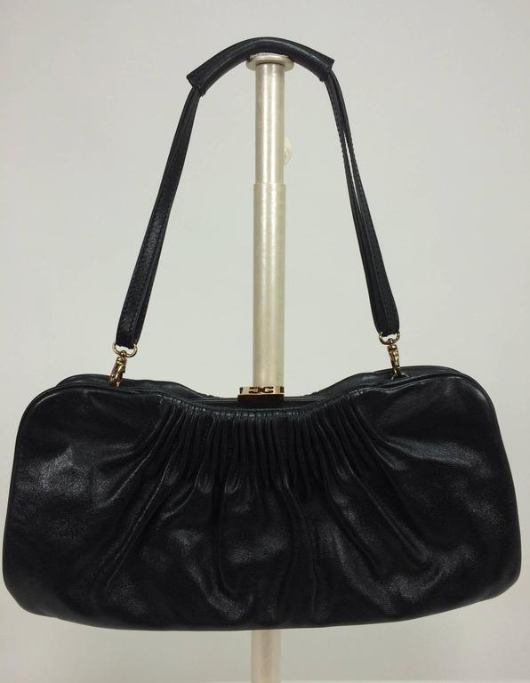 Black Escada black leather frame bag convertible clutch or shoulder handbag For Sale