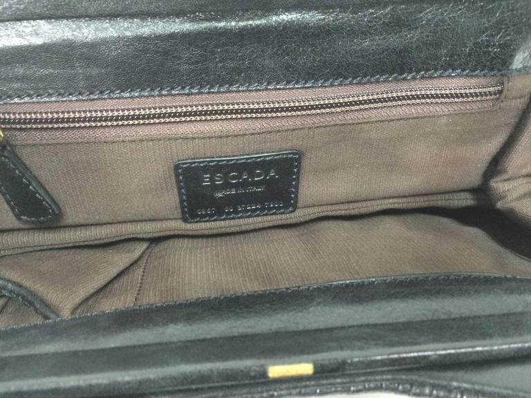 Escada black leather frame bag convertible clutch or shoulder handbag For Sale 2