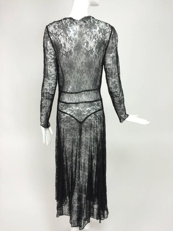 Black 1940s sheer black lace bias cut dress with plunge neckline For Sale
