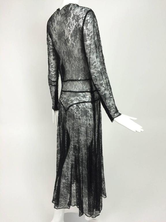 1940s sheer black lace bias cut dress with plunge neckline In Excellent Condition For Sale In West Palm Beach, FL