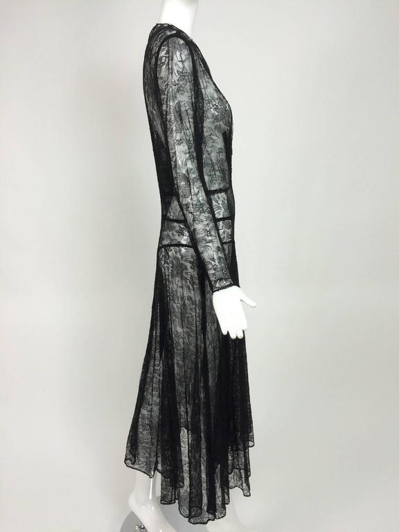 Women's 1940s sheer black lace bias cut dress with plunge neckline For Sale