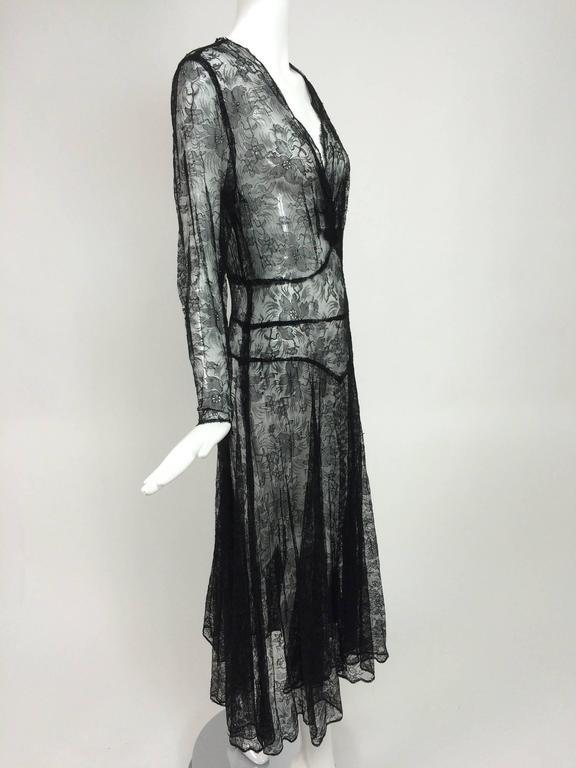 1940s sheer black lace bias cut dress with plunge neckline For Sale 1