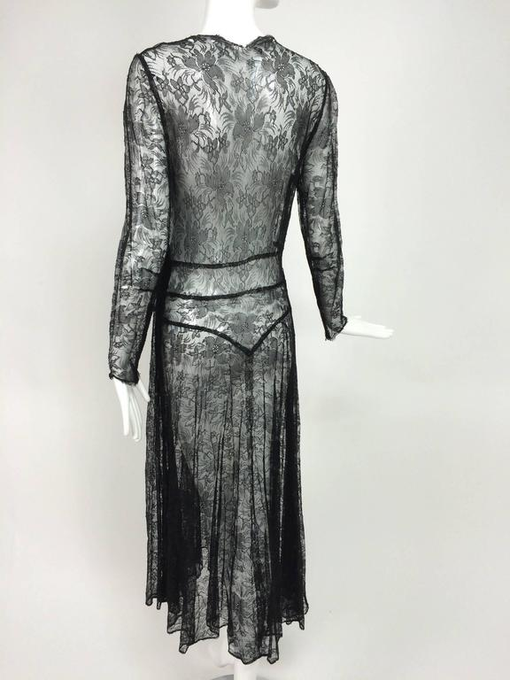 1940s sheer black lace bias cut dress with plunge neckline For Sale 2