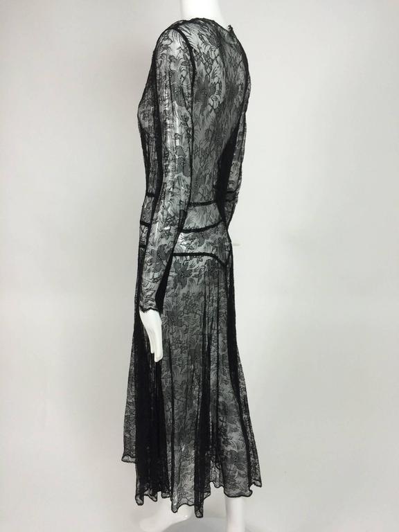 1940s sheer black lace bias cut dress with plunge neckline For Sale 3
