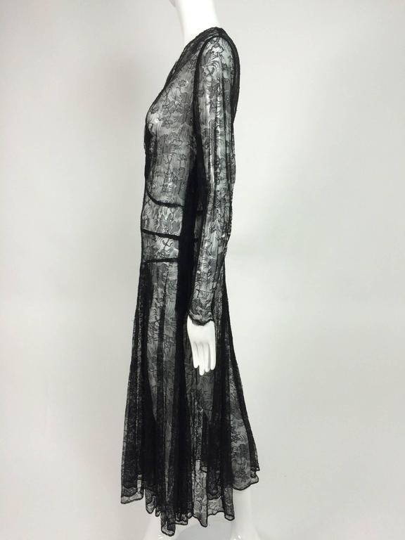 1940s sheer black lace bias cut dress with plunge neckline For Sale 4