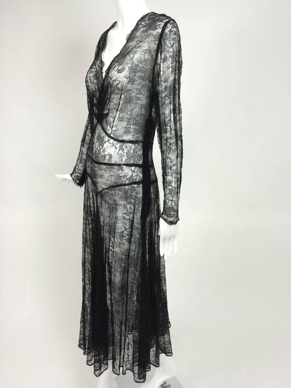 1940s sheer black lace bias cut dress with plunge neckline For Sale 5