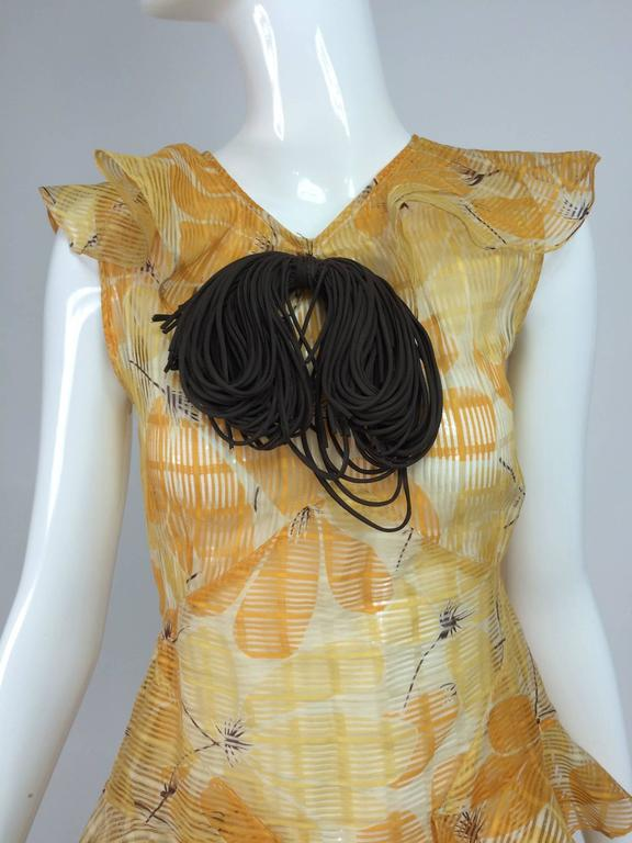 Sheer Woven Organdy Ruffle Daydress In Floral Cream And