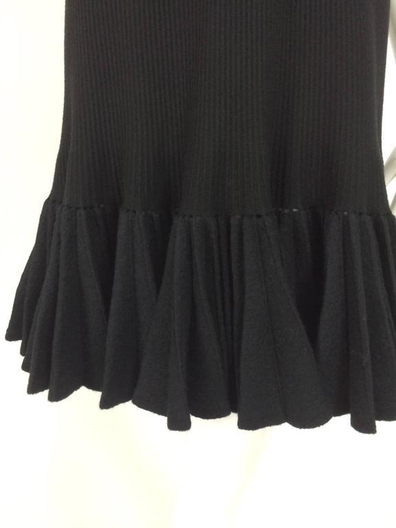 Azzedine Alaia black knit dress with felted wool knife pleated hem 2