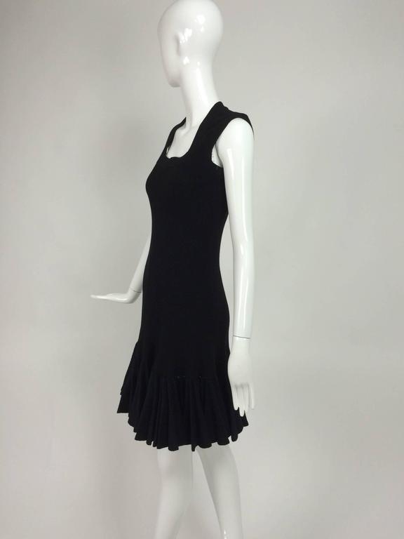 Azzedine Alaia black knit dress with felted wool knife pleated hem 3