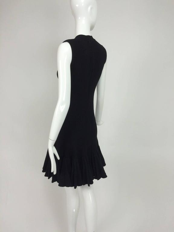 Azzedine Alaia black knit dress with felted wool knife pleated hem 5
