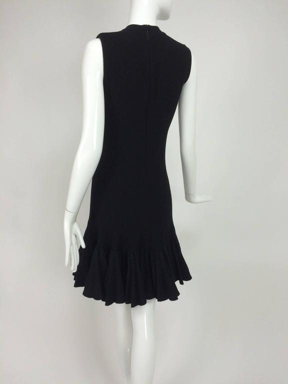 Azzedine Alaia black knit dress with felted wool knife pleated hem 6
