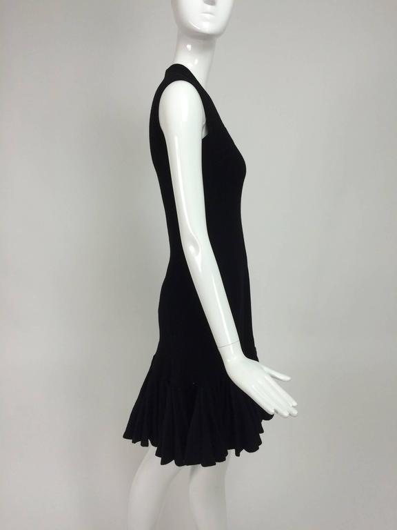 Azzedine Alaia black knit dress with felted wool knife pleated hem 7