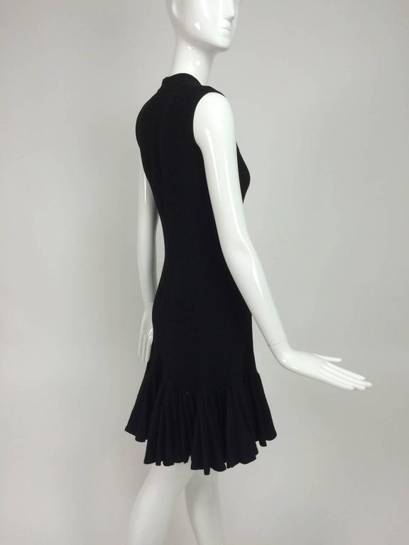 Azzedine Alaia black knit dress with felted wool knife pleated hem 8