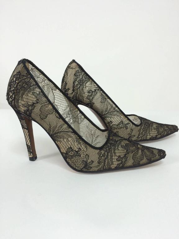 Dior Black Chantilly Lace high heeled pumps 36 1/2