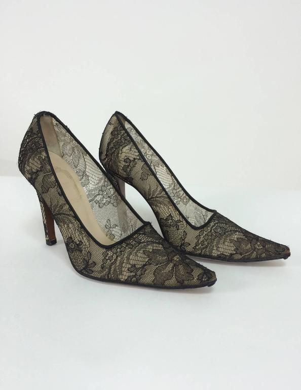 Gray Christian Dior Black Chantilly Lace high heeled pumps 36 1/2