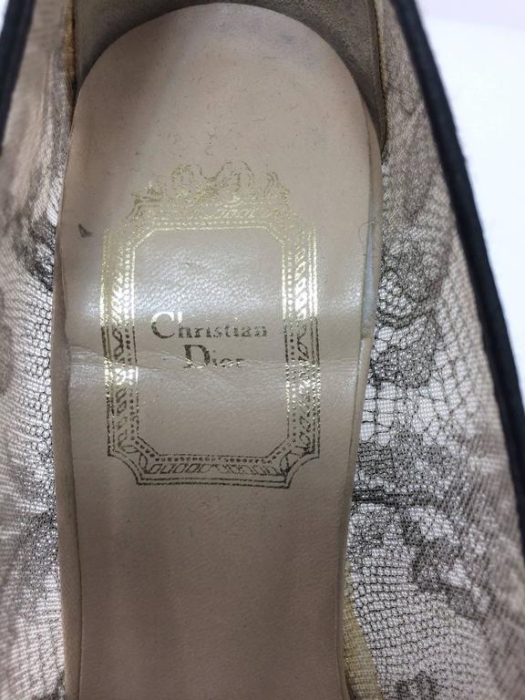 Christian Dior Black Chantilly Lace high heeled pumps 36 1/2