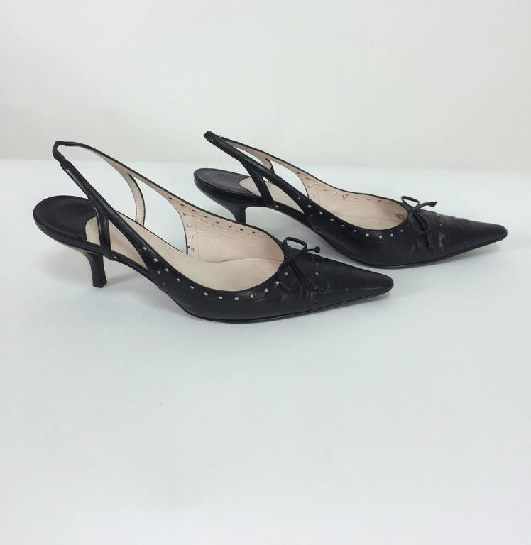 6481ae9060e7 Chanel black leather bow front sling back kitten heel pumps 37M...Perforated  dots