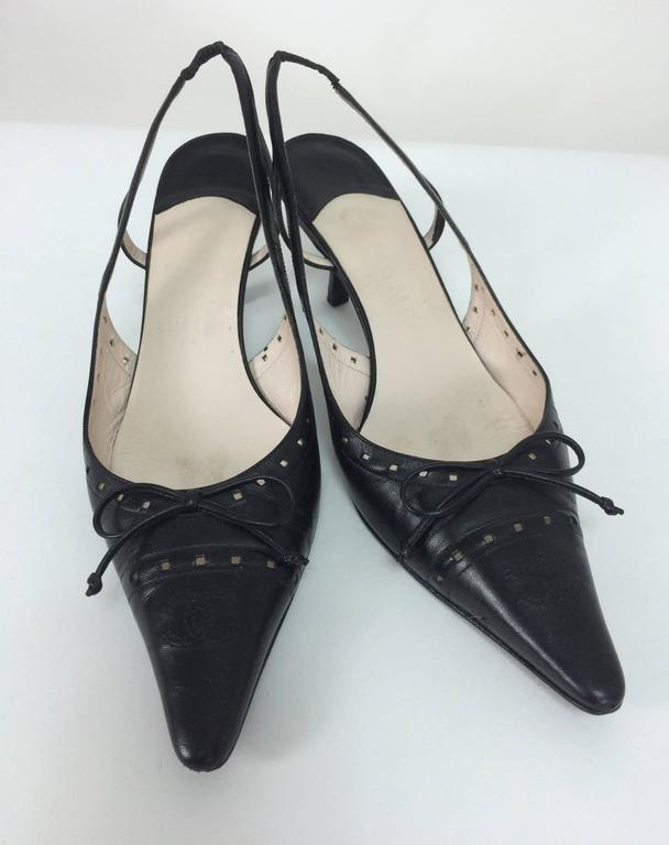 0897e49e4b0c Black Chanel black leather bow front sling back kitten heel pumps 37M For  Sale