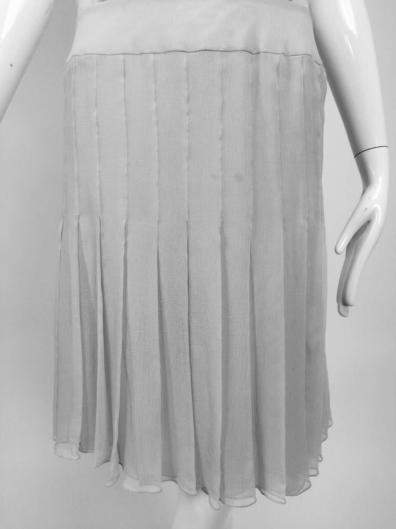 Gray Chanel dove grey silk chiffon pleated afternoon dress 2006 For Sale