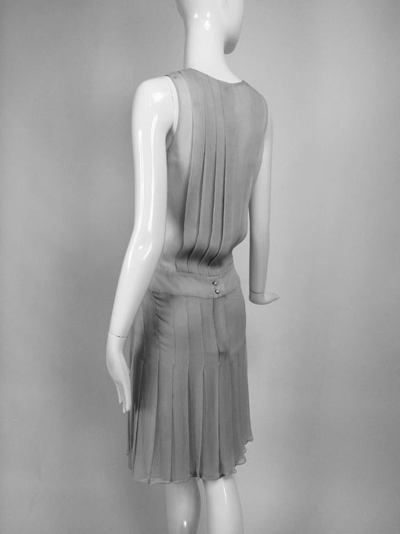 Chanel dove grey silk chiffon pleated afternoon dress 2006 For Sale 1