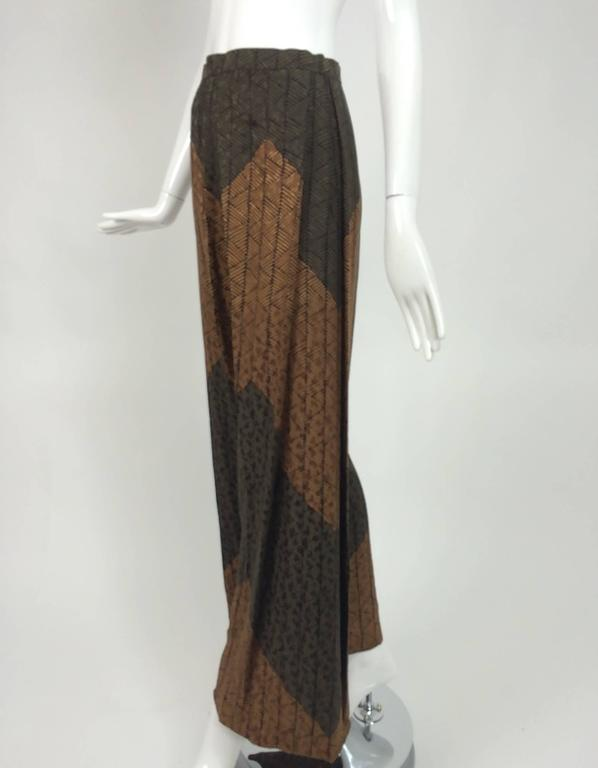 Carolina Herrera cocoa/chocolate geometric print wide leg trouser 2
