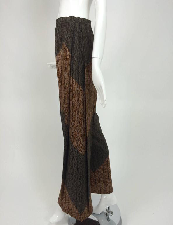 Carolina Herrera cocoa/chocolate geometric print wide leg trouser 3