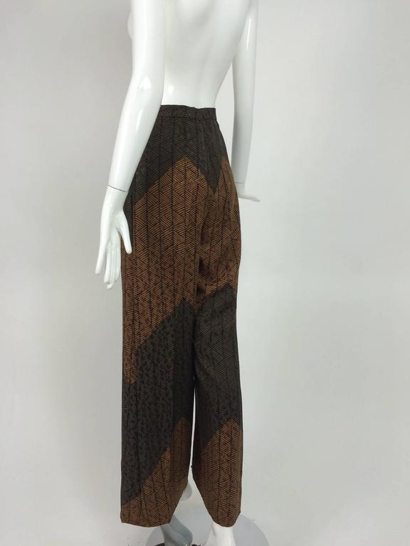 Carolina Herrera cocoa/chocolate geometric print wide leg trouser 4
