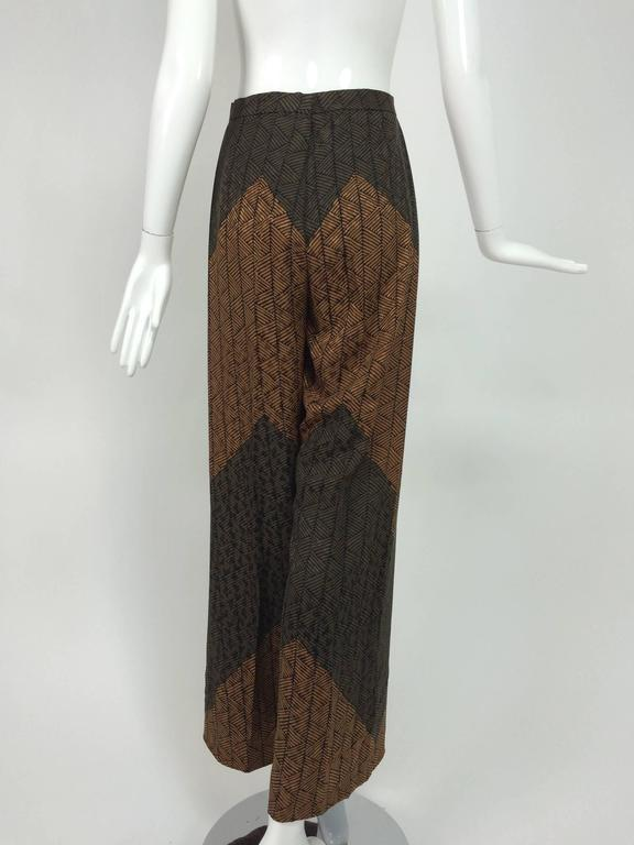Carolina Herrera cocoa/chocolate geometric print wide leg trouser 5
