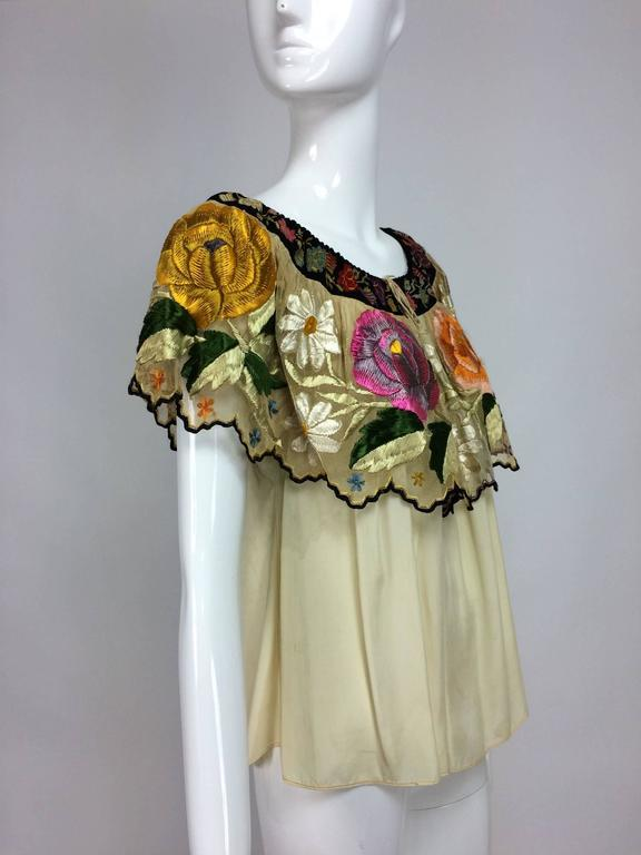 Women's Vintage Mexican silk needle point & embroidered peasant blouse 1940s  For Sale