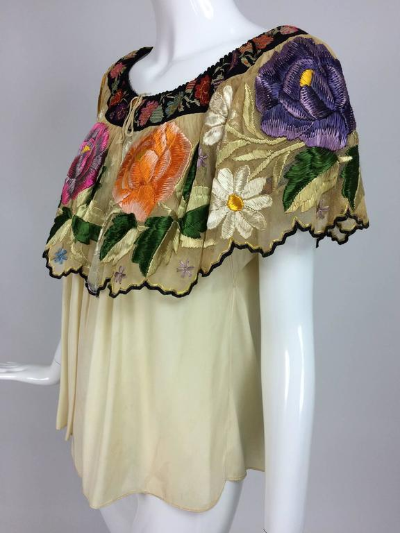 Vintage Mexican silk needle point & embroidered peasant blouse 1940s  For Sale 1