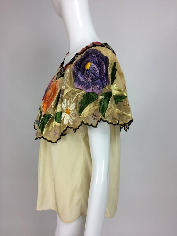 Vintage Mexican silk needle point & embroidered peasant blouse 1940s  For Sale 2