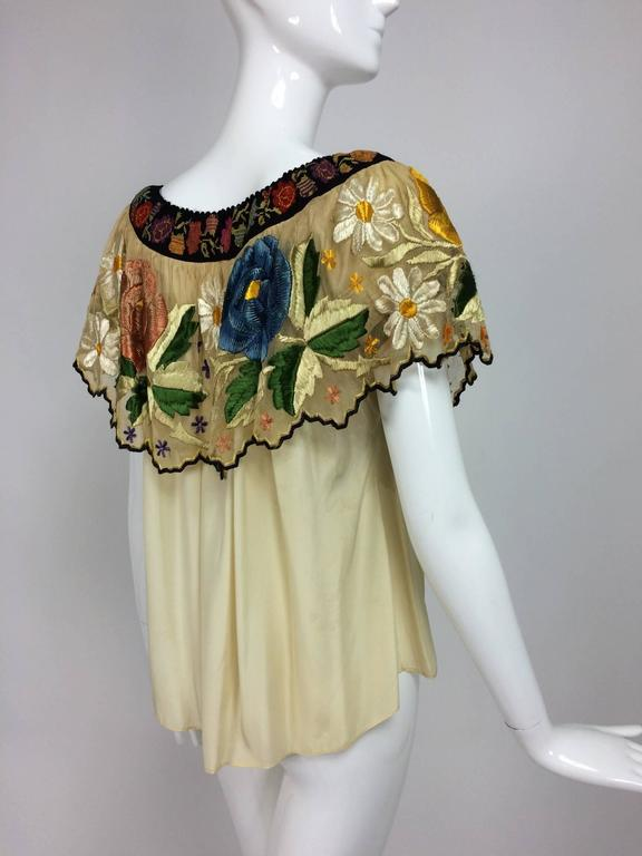 Vintage Mexican silk needle point & embroidered peasant blouse 1940s  For Sale 5