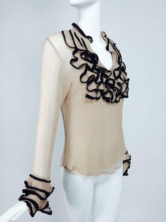 Brown Lloyd Klein nude silk gauze ruffle front blouse & matching camisole For Sale